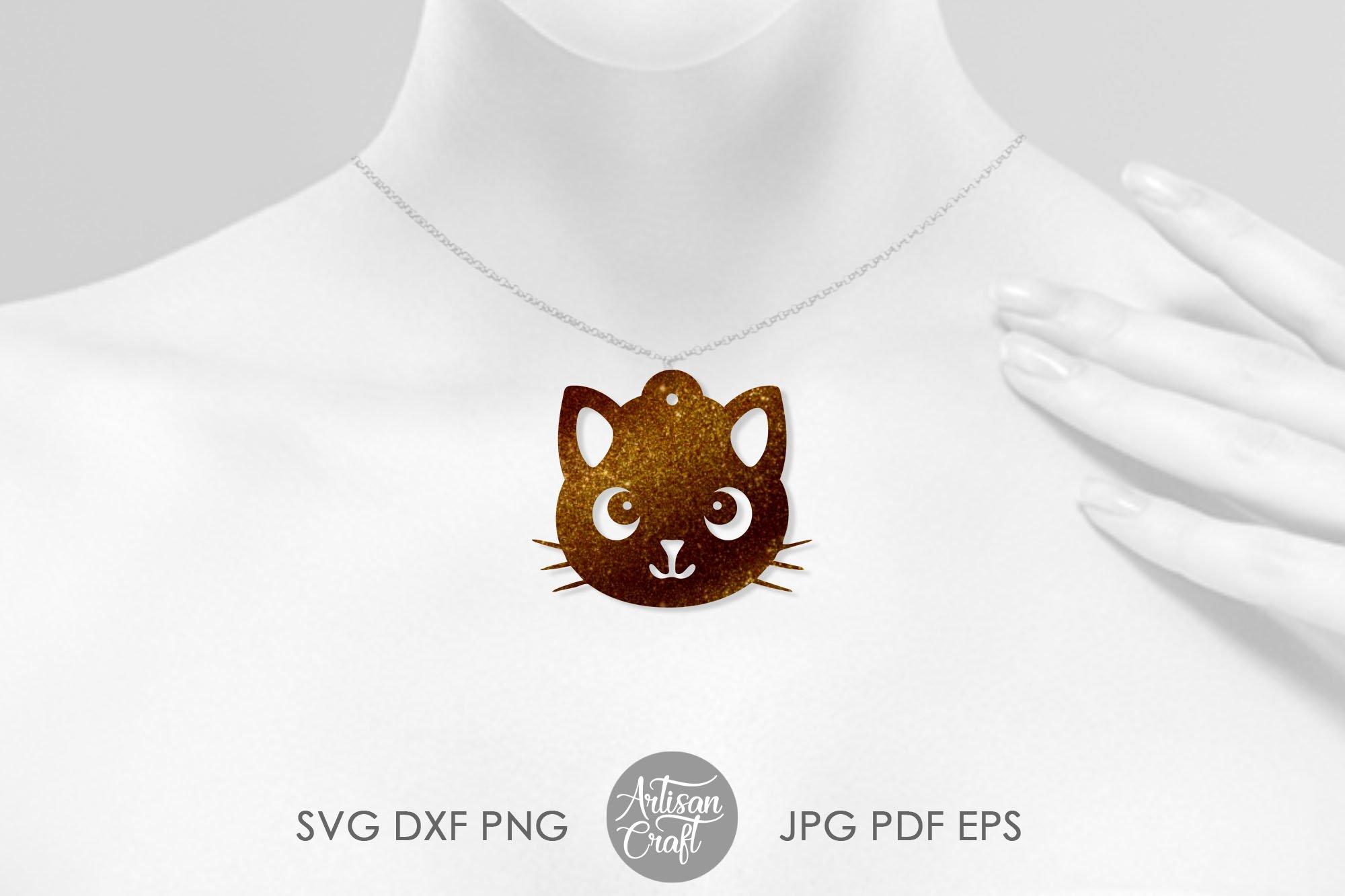 Cat earrings, svg, earrings for kids, cute cat earrings example image 6