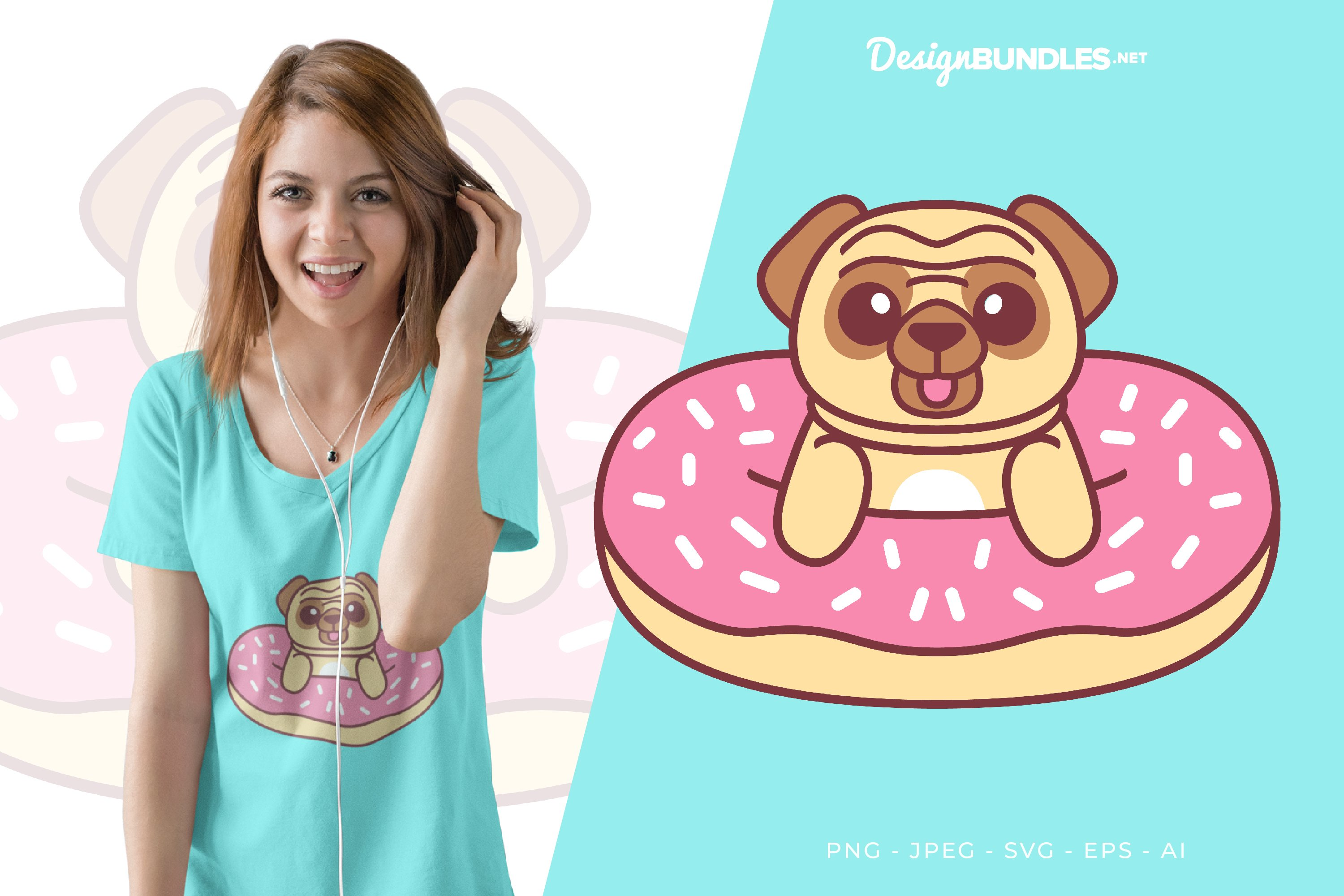 Pug and Donut Vector Illustration For T-Shirt Design example image 1