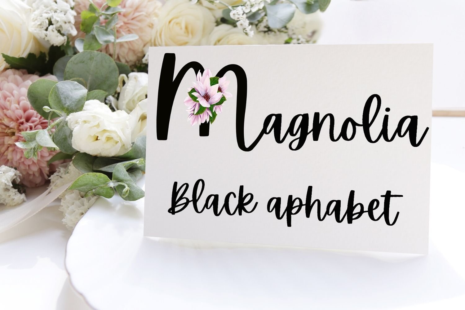 Black Magnolia Alphabet and Number example image 2