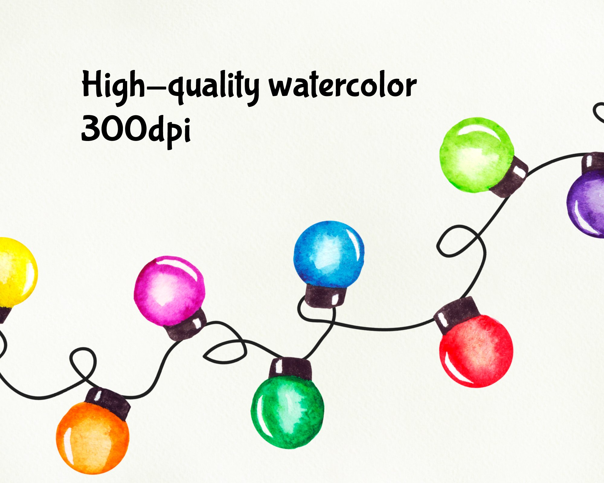String of Christmas lights clipart, border, frame png example image 4