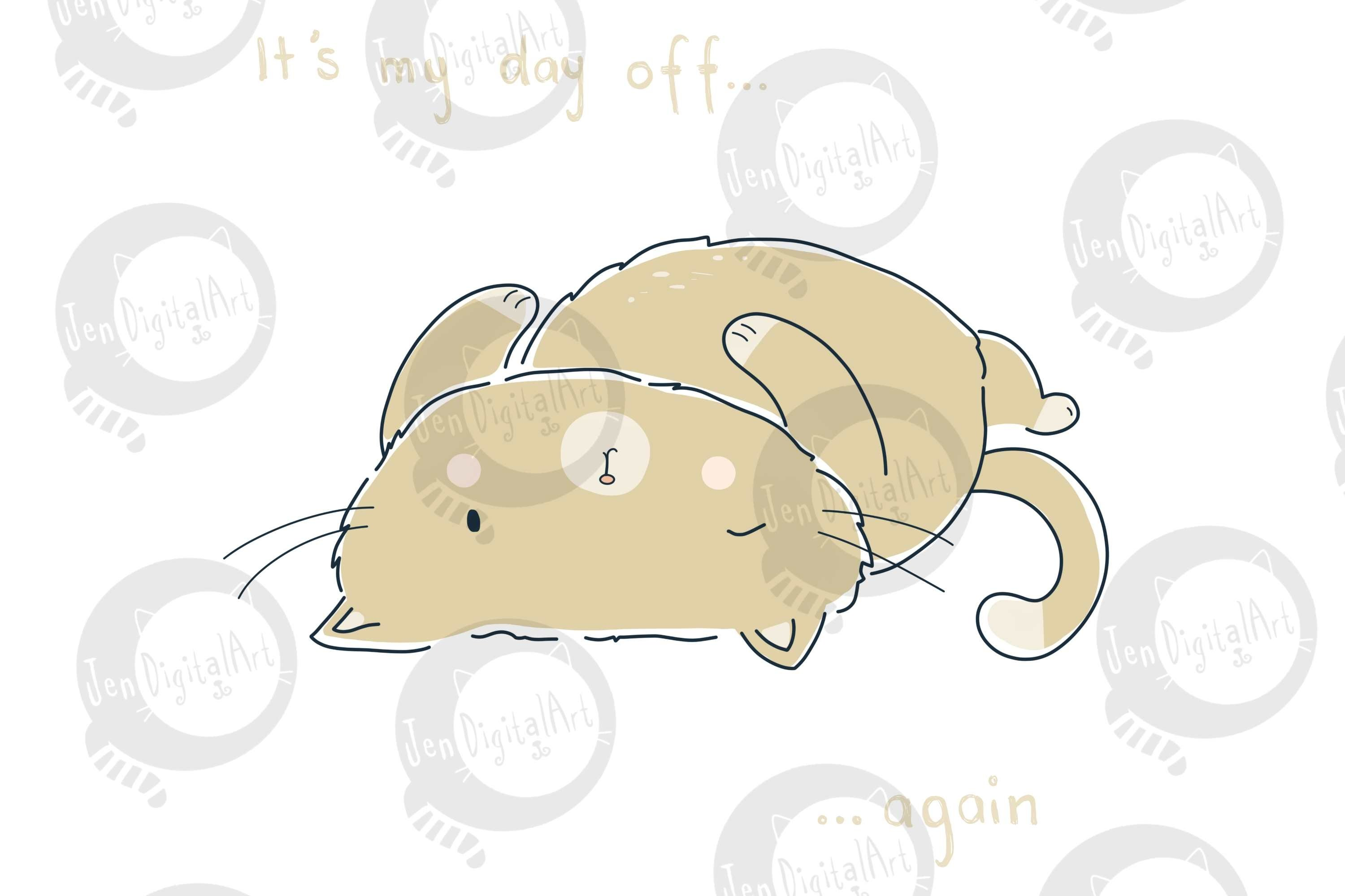 Day Off Cat | Clip Art Illustration | PNG/JPEG example image 2