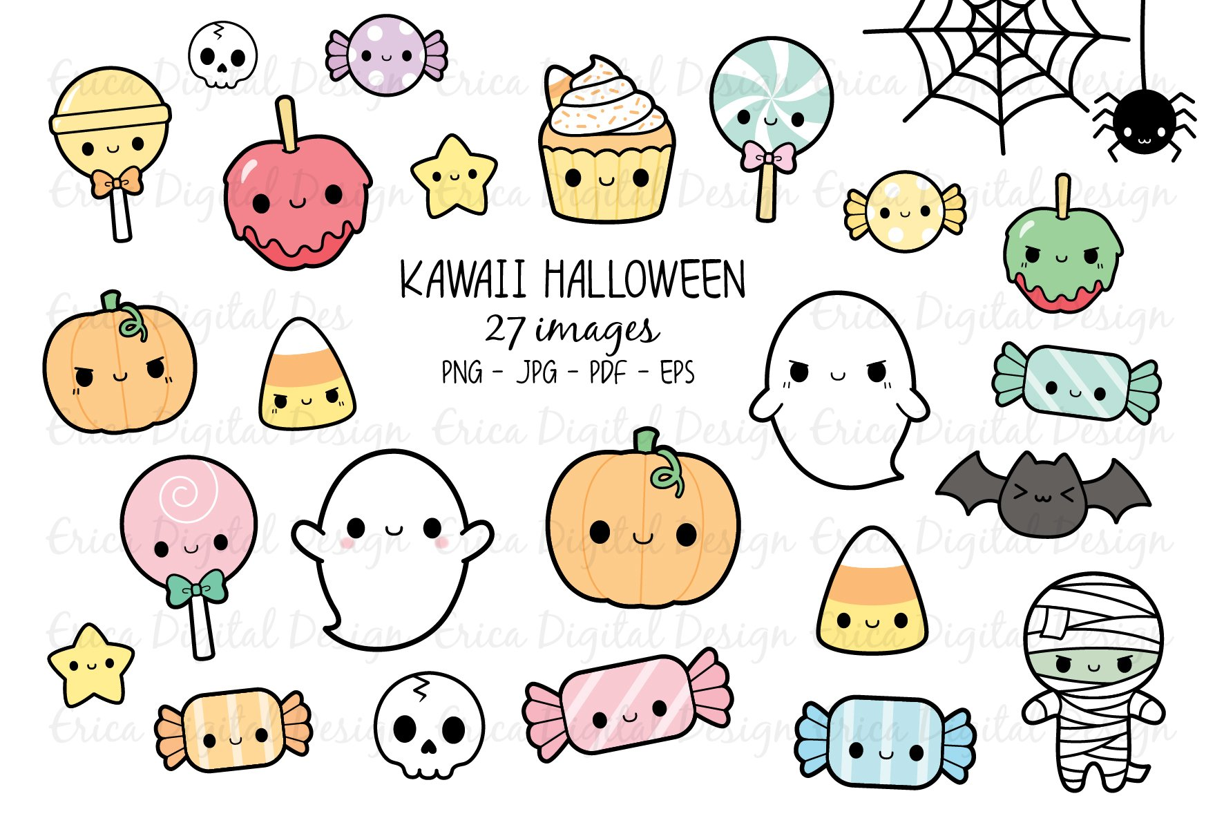 Kawaii Halloween clipart set - 27 cute Halloween images ...