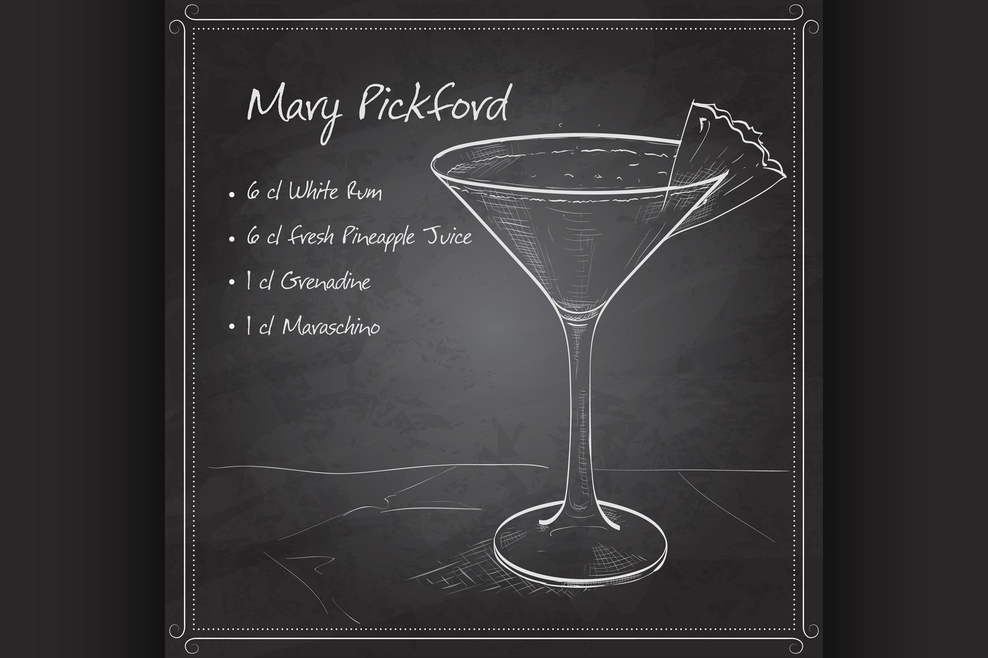 Cocktail Mary Pickford on black board example image 1
