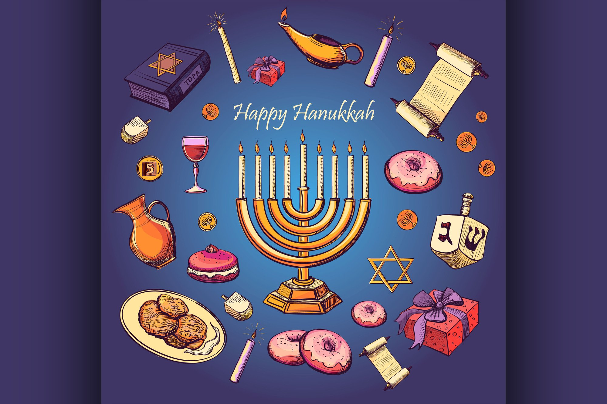Happy Hanukkah holiday greeting background example image 1