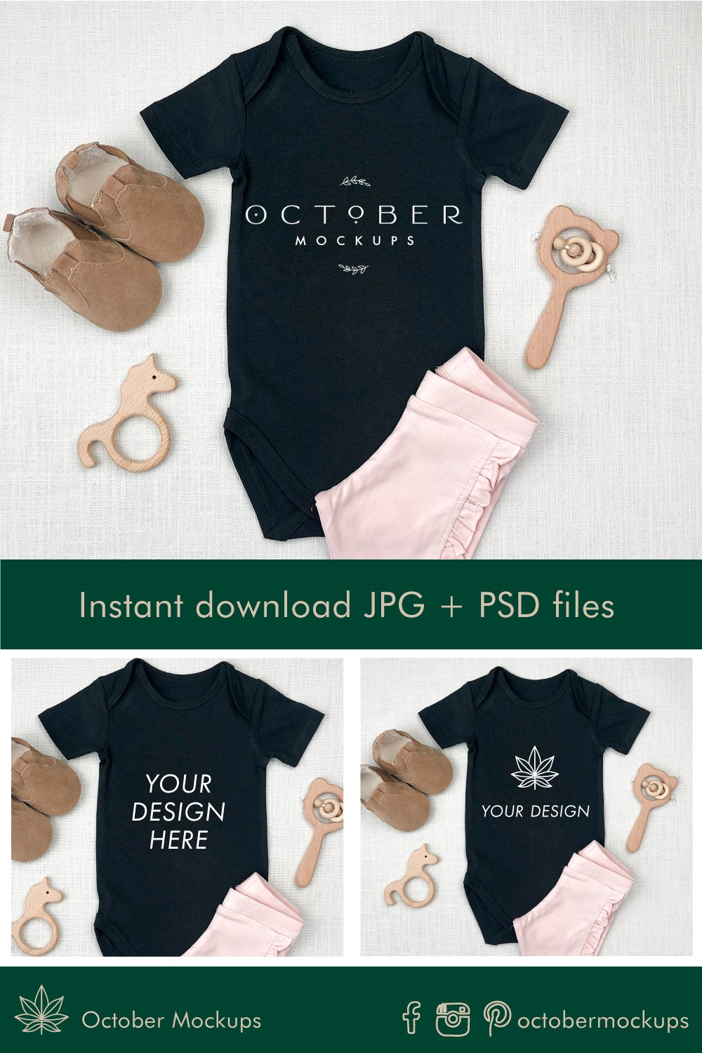 Baby onepiece mockups in JPG and PSD | Sublimation blanks example image 2