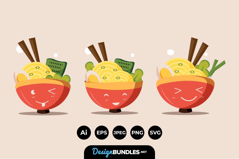 Cute Happy Ramen Bowl Characters example image 1