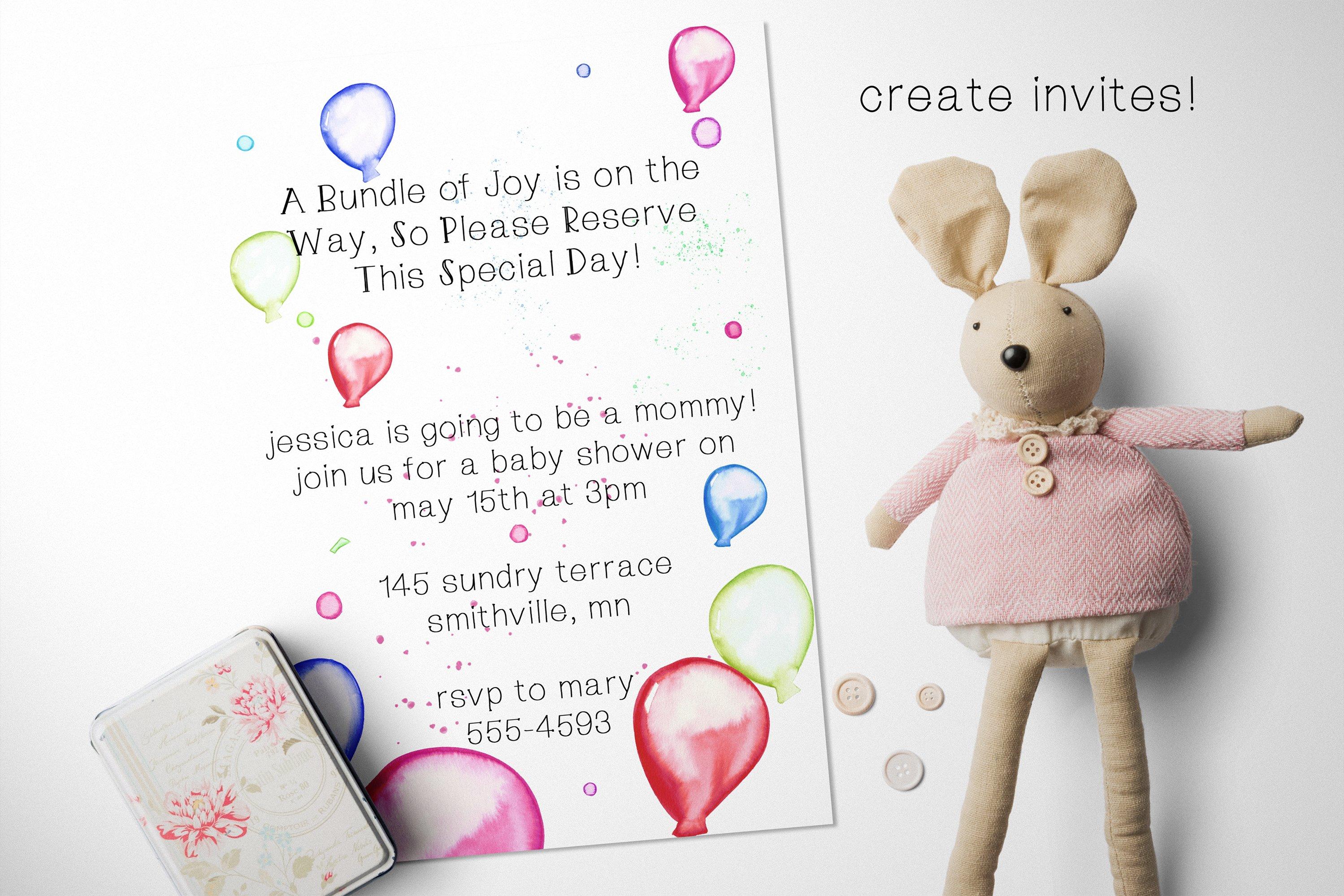 Balloons & Confetti Party Watercolor Clip Art Set example image 3