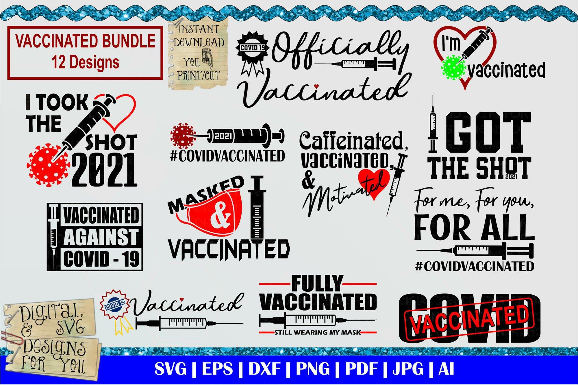 Vaccinated bundle svg   Covid 19 vaccine cut file  Mask svg