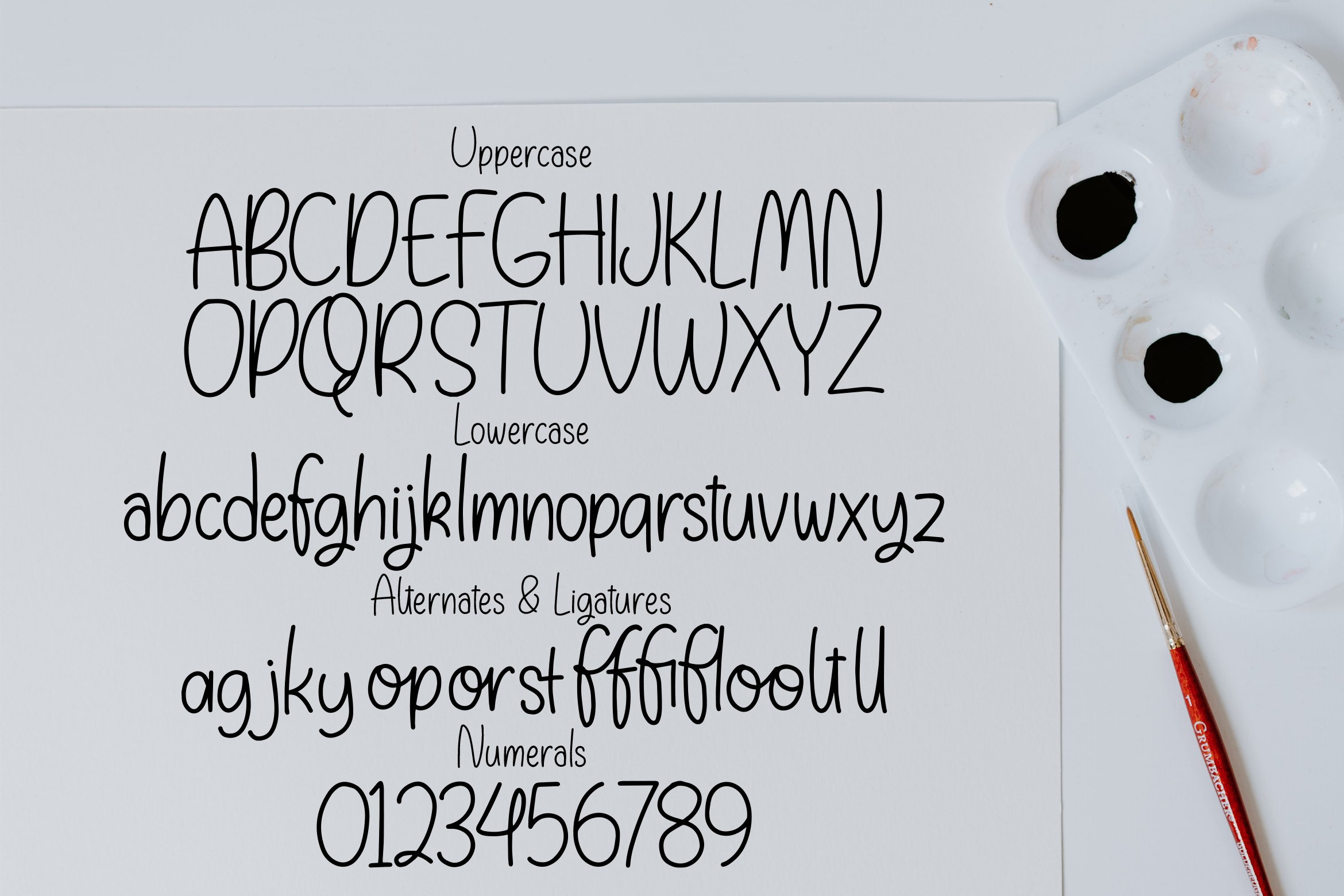 Slim Glossary - Handlettered Font example image 2