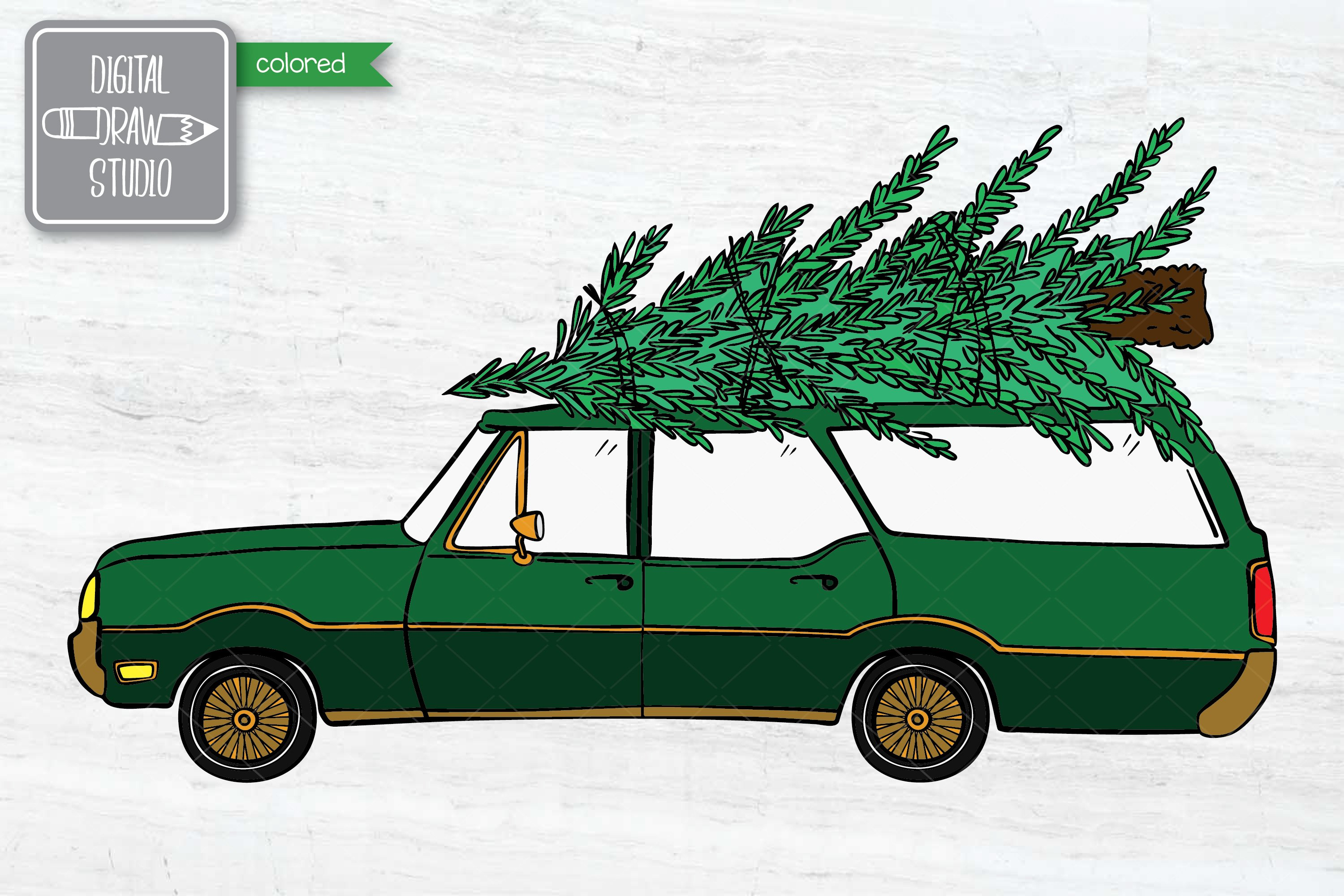 Color Station Wagon Car Christmas | Tree on Roof Top Holiday example image 4