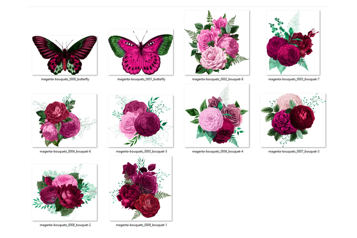Magenta Bouquets Clipart example image 2