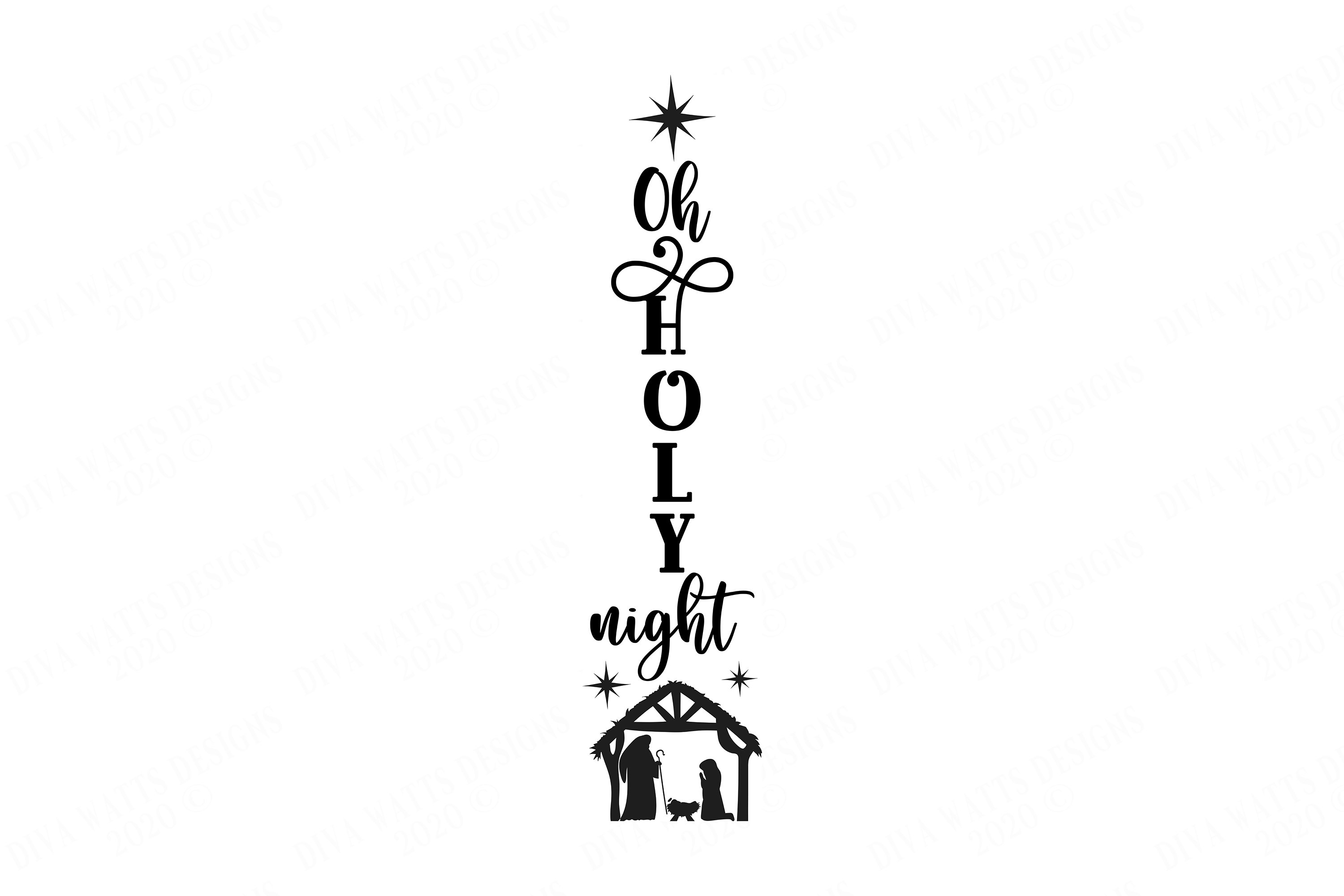 Vertical Oh Holy Night | Christmas Nativity | Star | Sign example image 2
