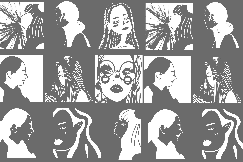 Girls portraits! 9 illustrations - eps, svg, png, jpg, cdr example image 5