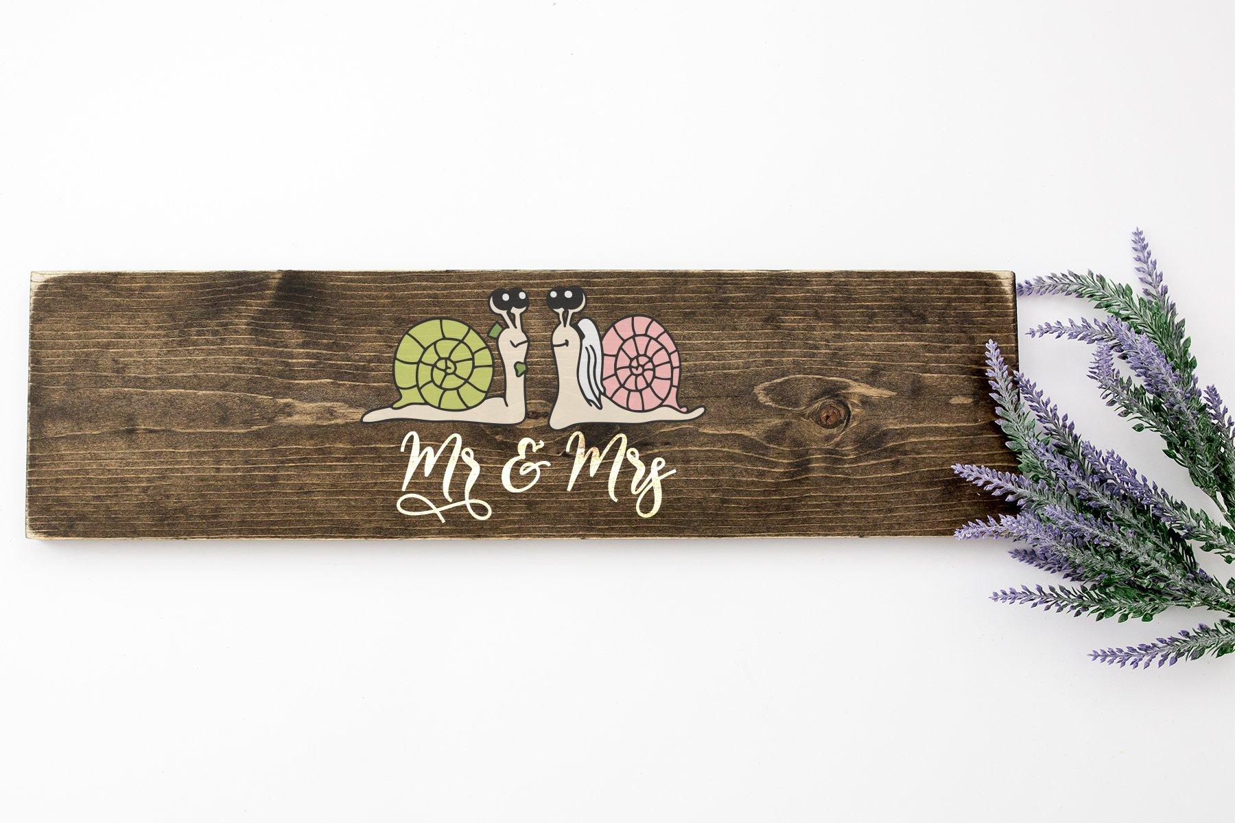 Mr and Mrs | Snails SVG Wedding | Love SVG example image 2