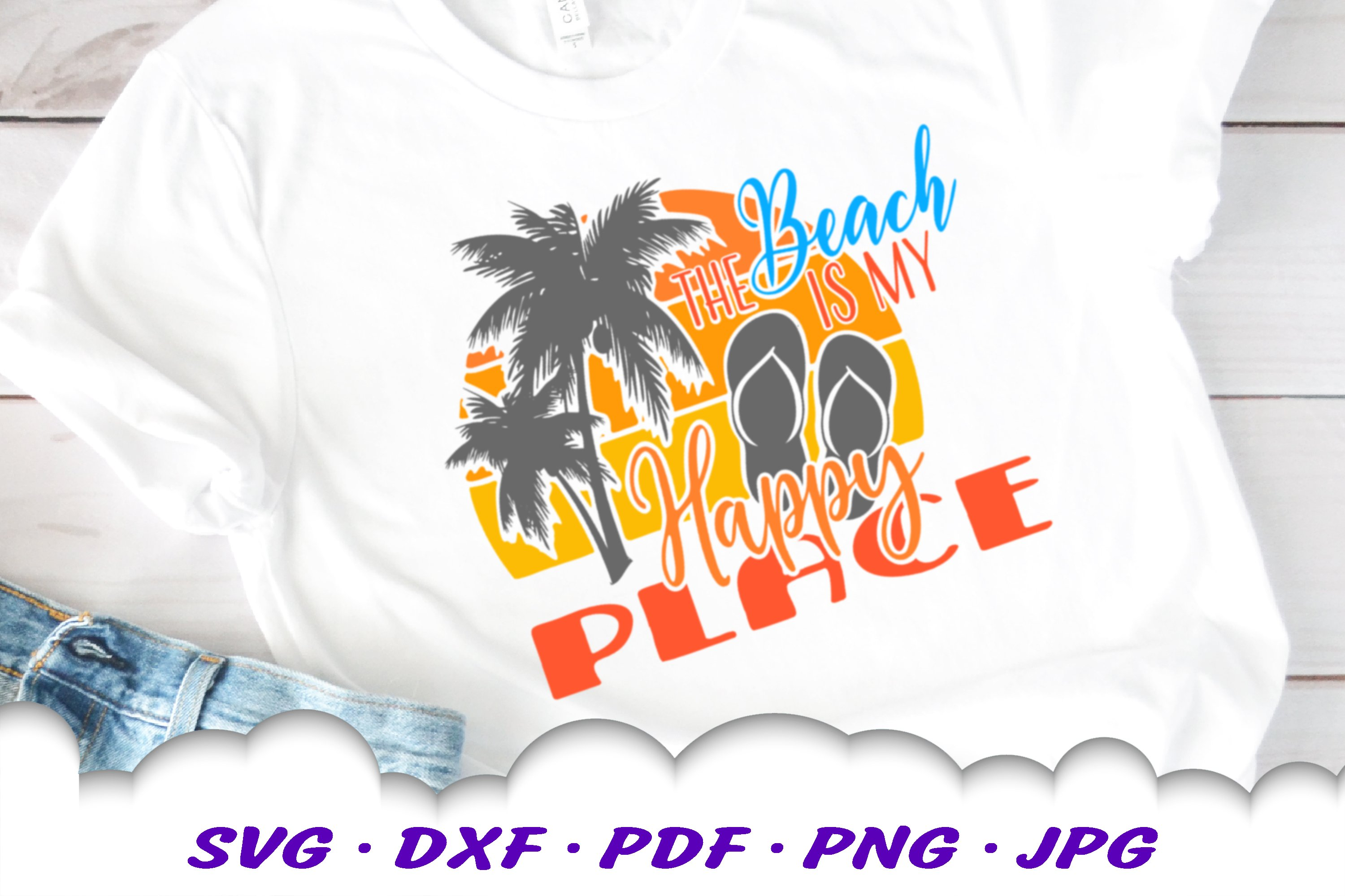 The Beach Is My Happy Place Sunset SVG Flip Flops Cut Files example image 1