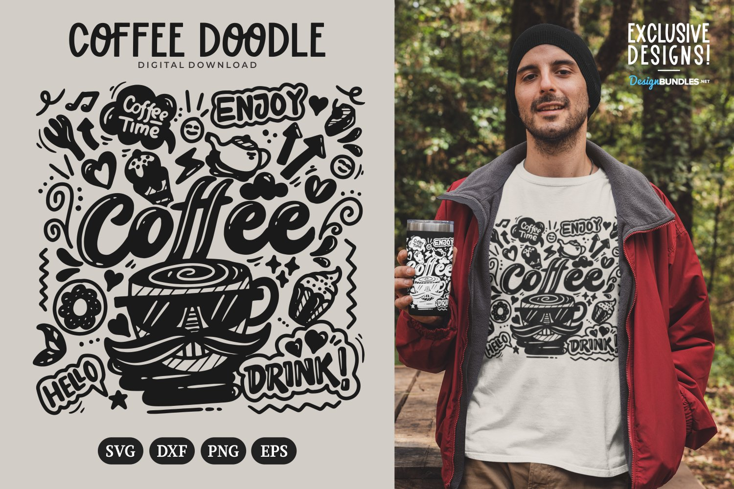 Coffee Doodle T-shirt example image 1