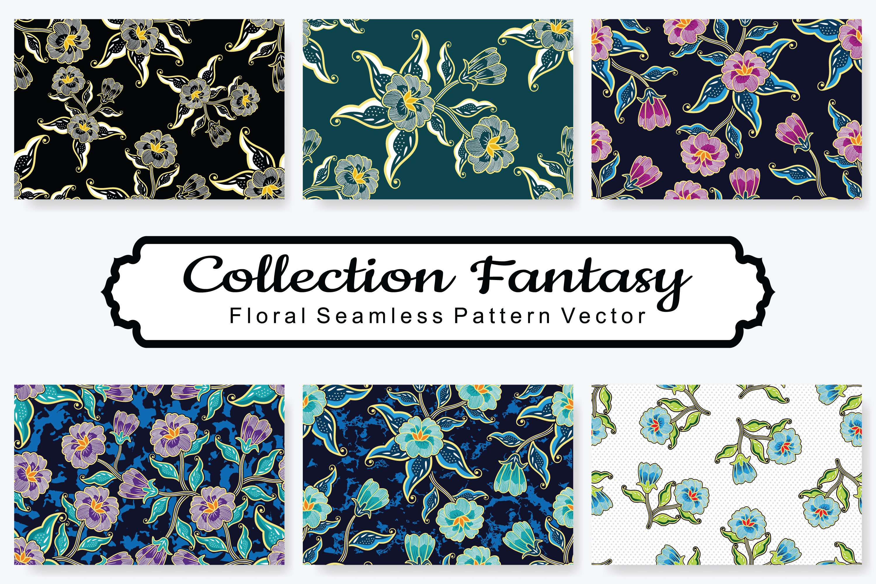 Set Of Fantasy Floral Vector Pattern Vol.19 example image 1