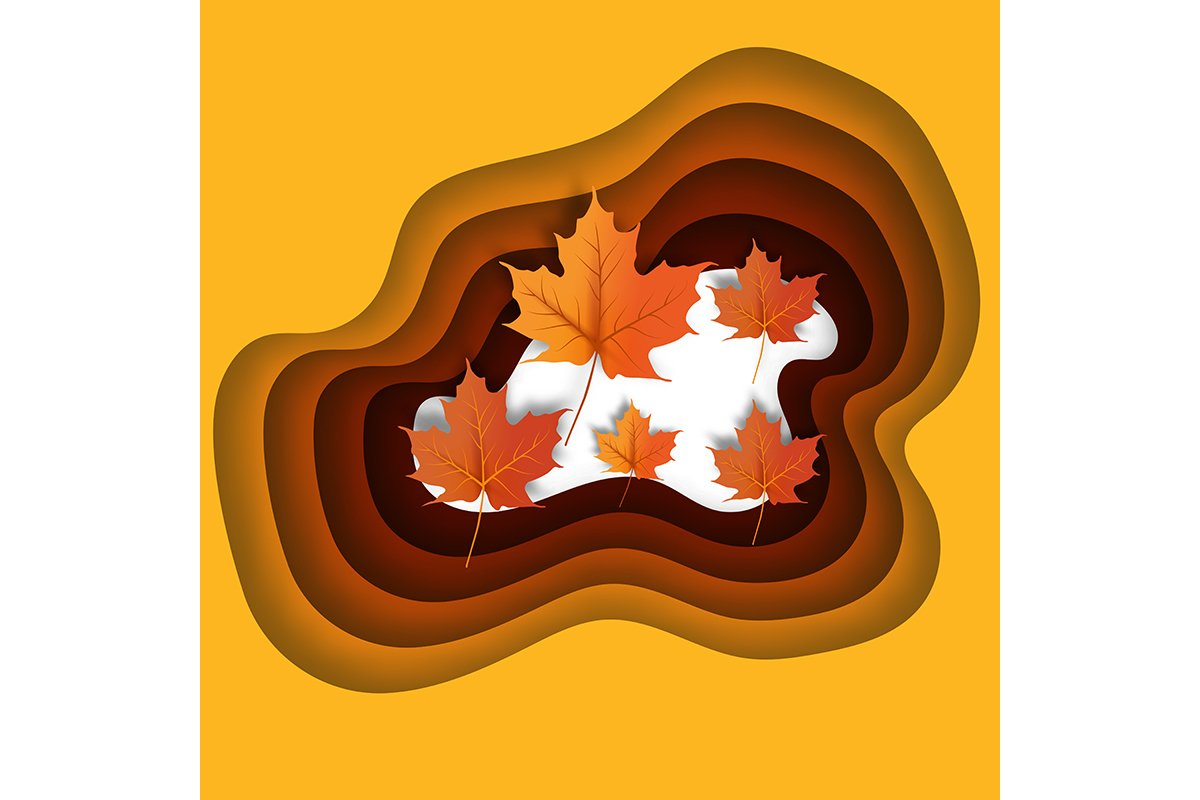 Autumn leaves paper cut style background vector illustration example image 1