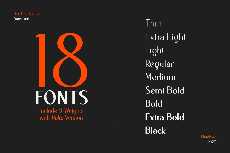 Ben Sans Serif Font Family - 18 Fonts example image 2