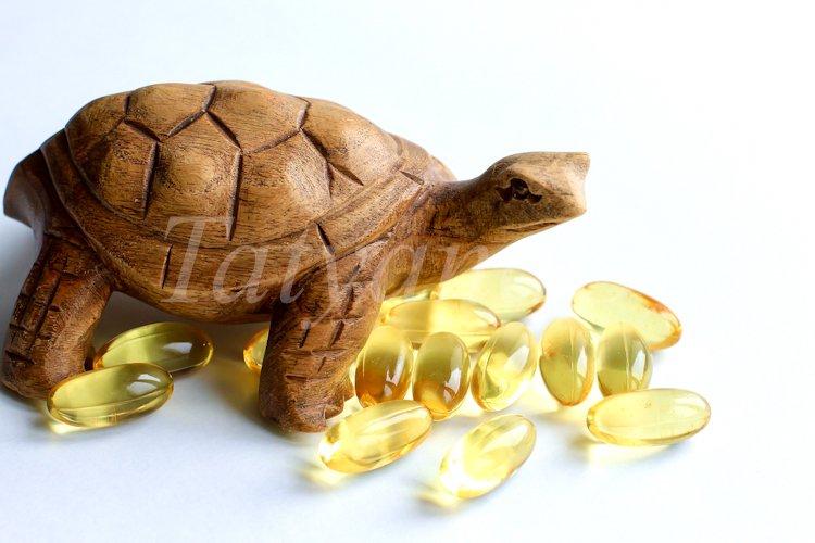 Omega 3 capsules lying on white background example image 1