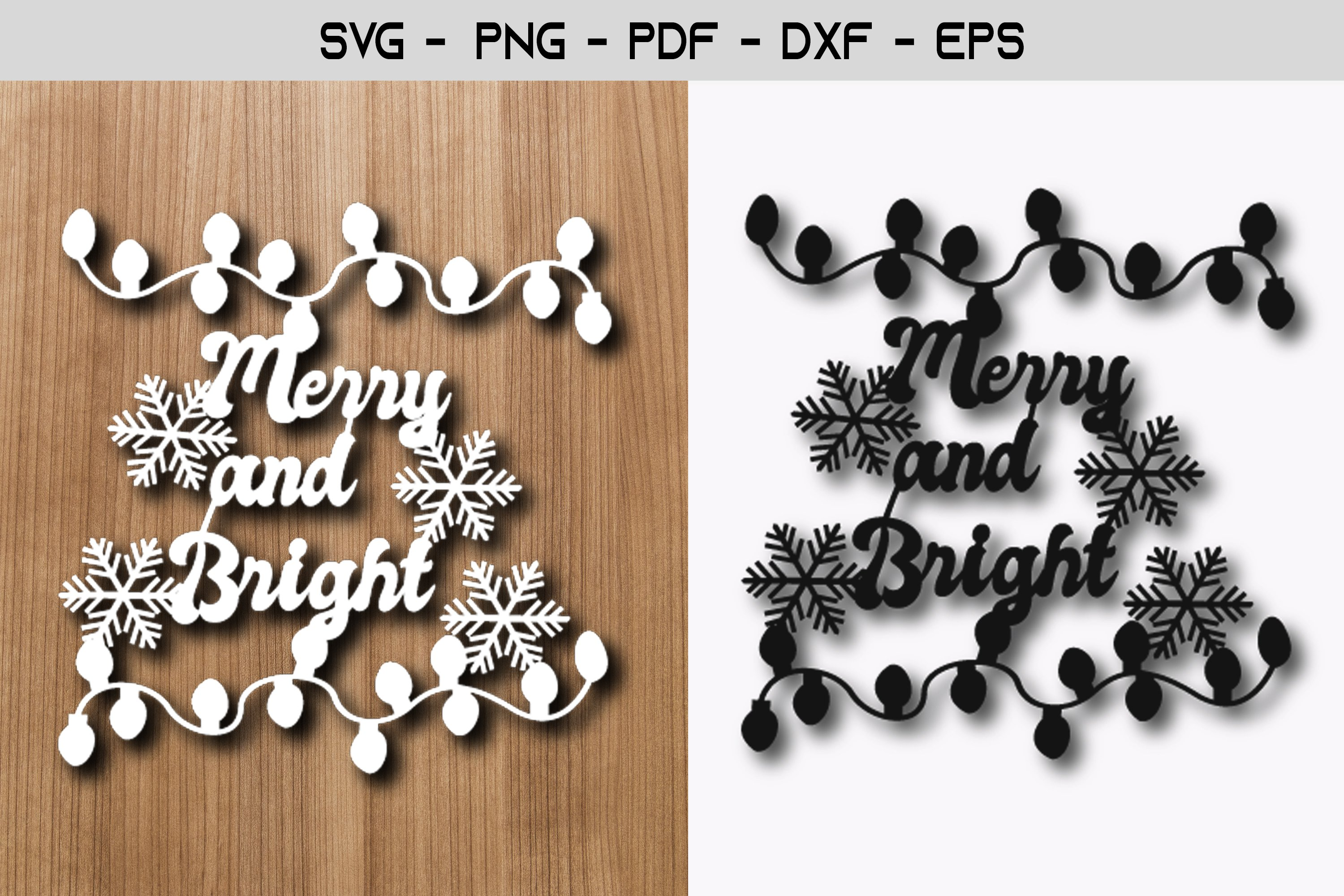 Merry and Bright Christmas Paper Template SVG example image 1