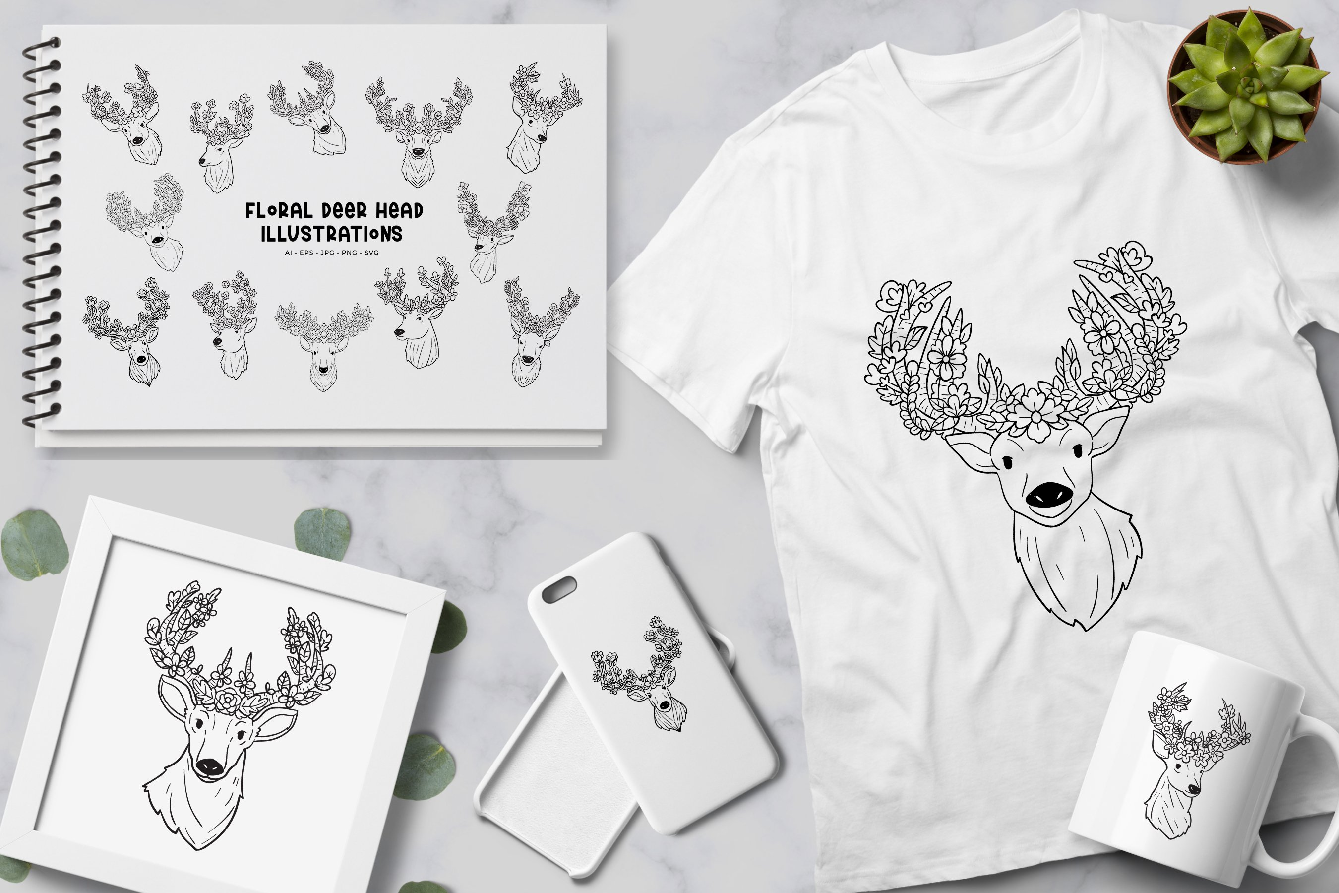 Floral Deer Head illustration example image 2