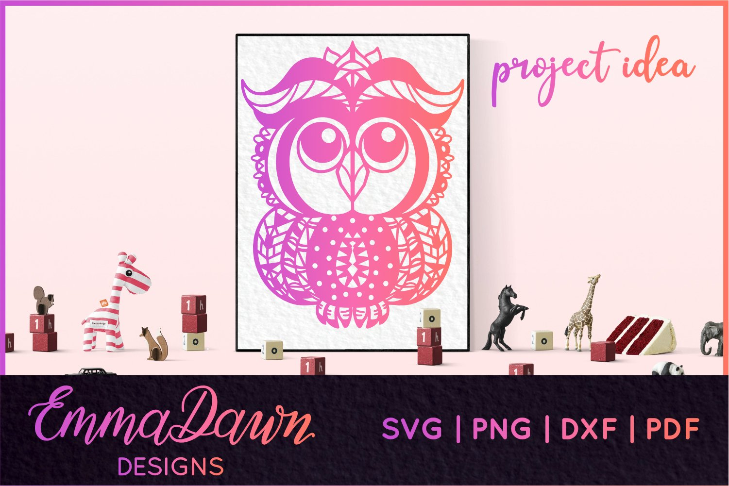BABY OWL PATTERN SVG, DXF, PNG, PDF, FCM example image 4