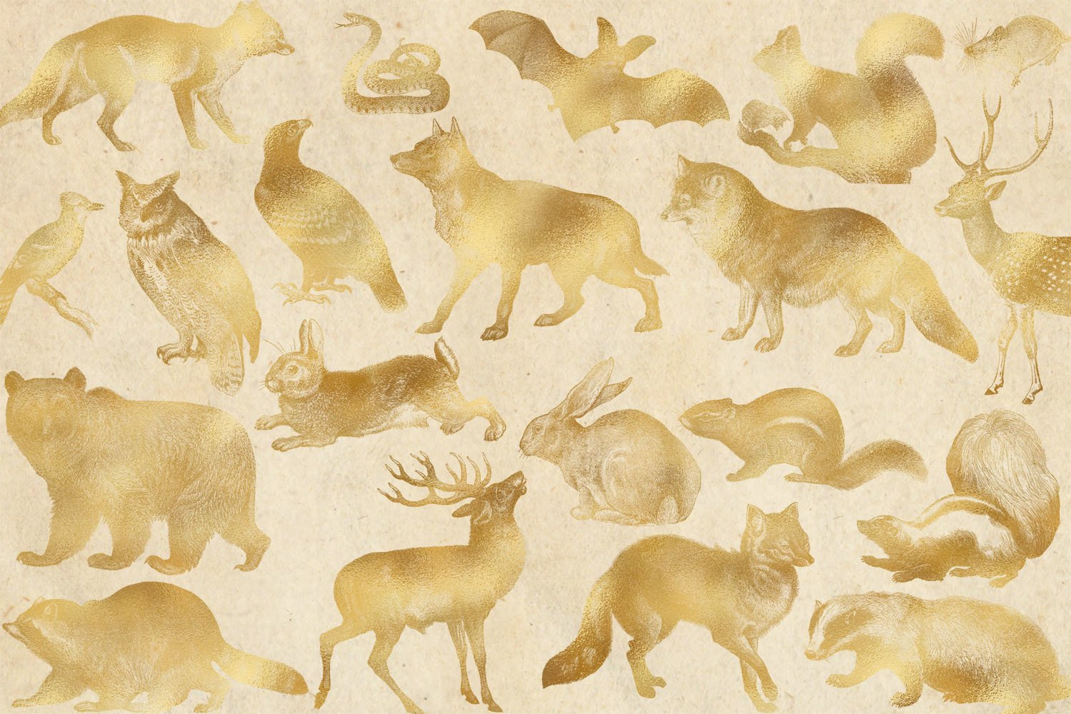 Gold Forest Animals Clip Art example image 3