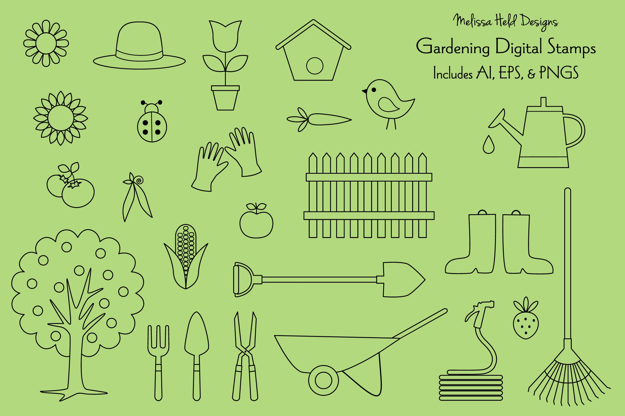 Gardening Digital Stamps Clipart example image 1