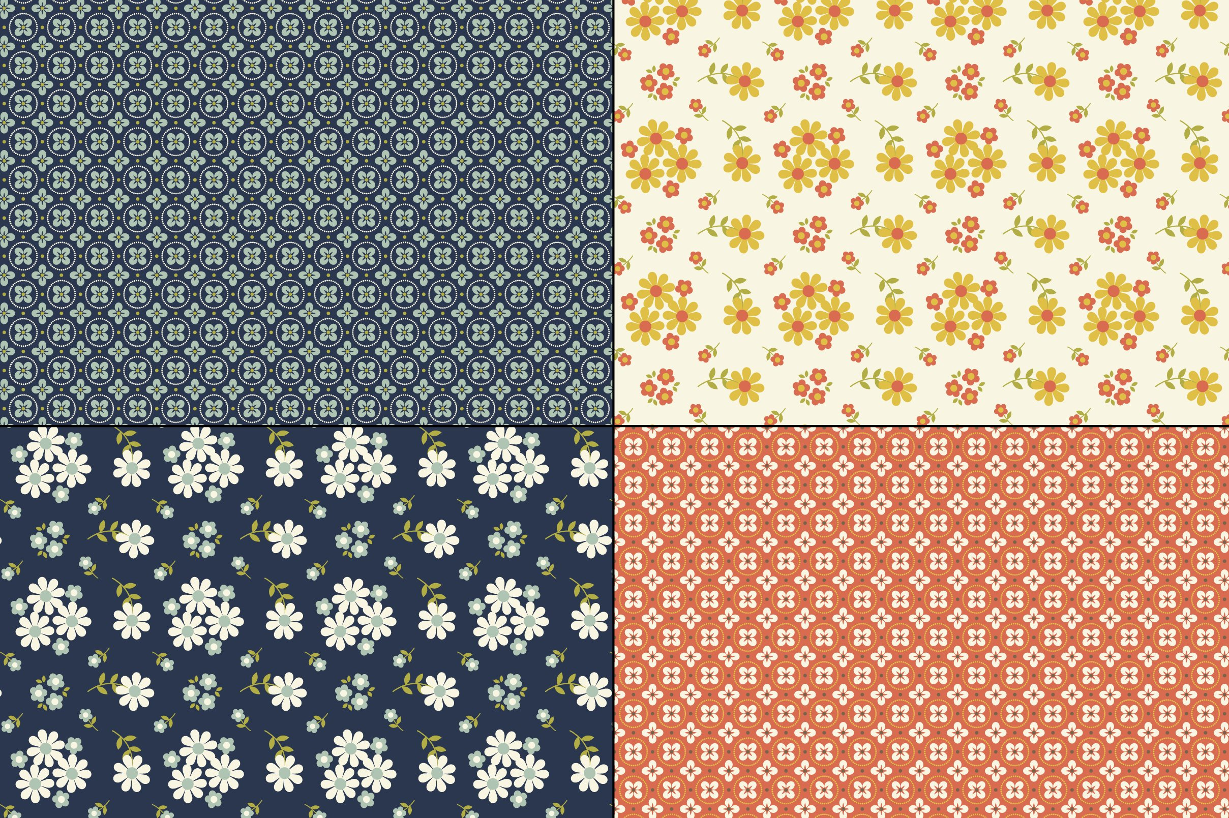 Seamless Retro Floral & Geometric Patterns example image 4