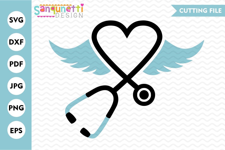 Stethoscope SVG File, nursing angel wings svg example image 2