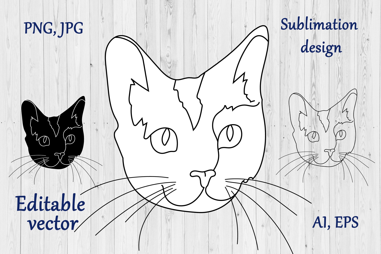 Cat Outline Sublimation Design - Modern Line Art example image 4