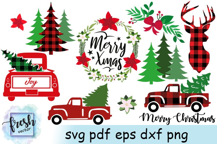 Christmas Truck Svg Bundle Merry Christmas Svg Buffalo Plaid 904708 Cut Files Design Bundles