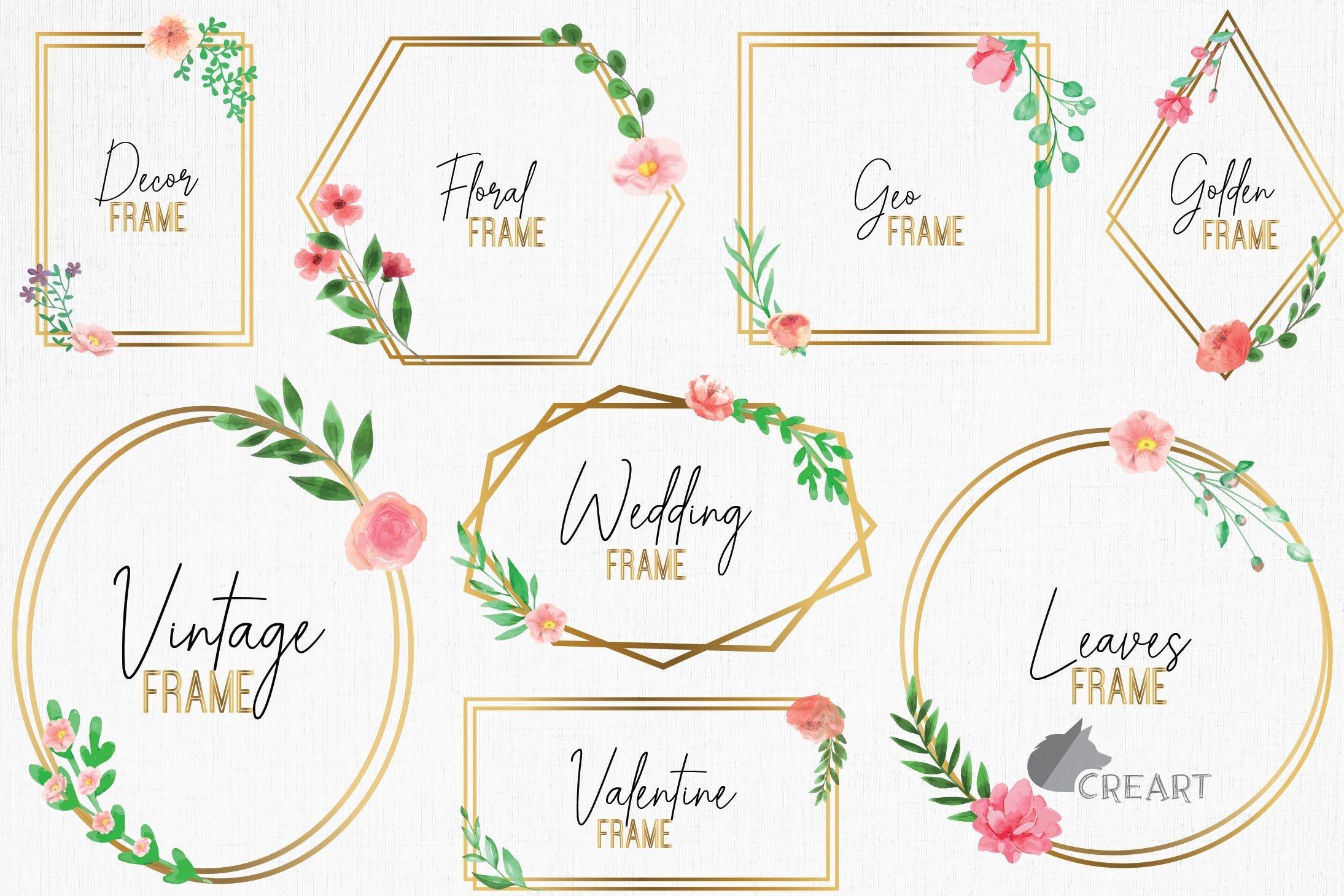 Download Golden Floral Frames Clip Art Wedding Geometric Borders Png 457493 Illustrations Design Bundles