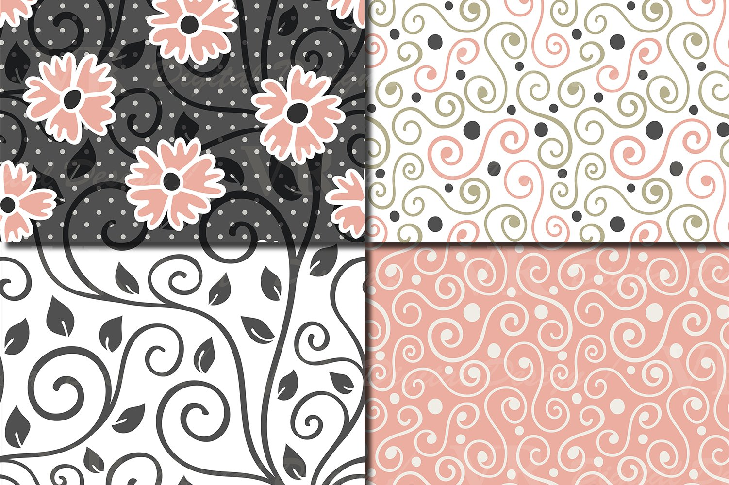 Floral swirls blush peach and green seamless digital paper example image 3