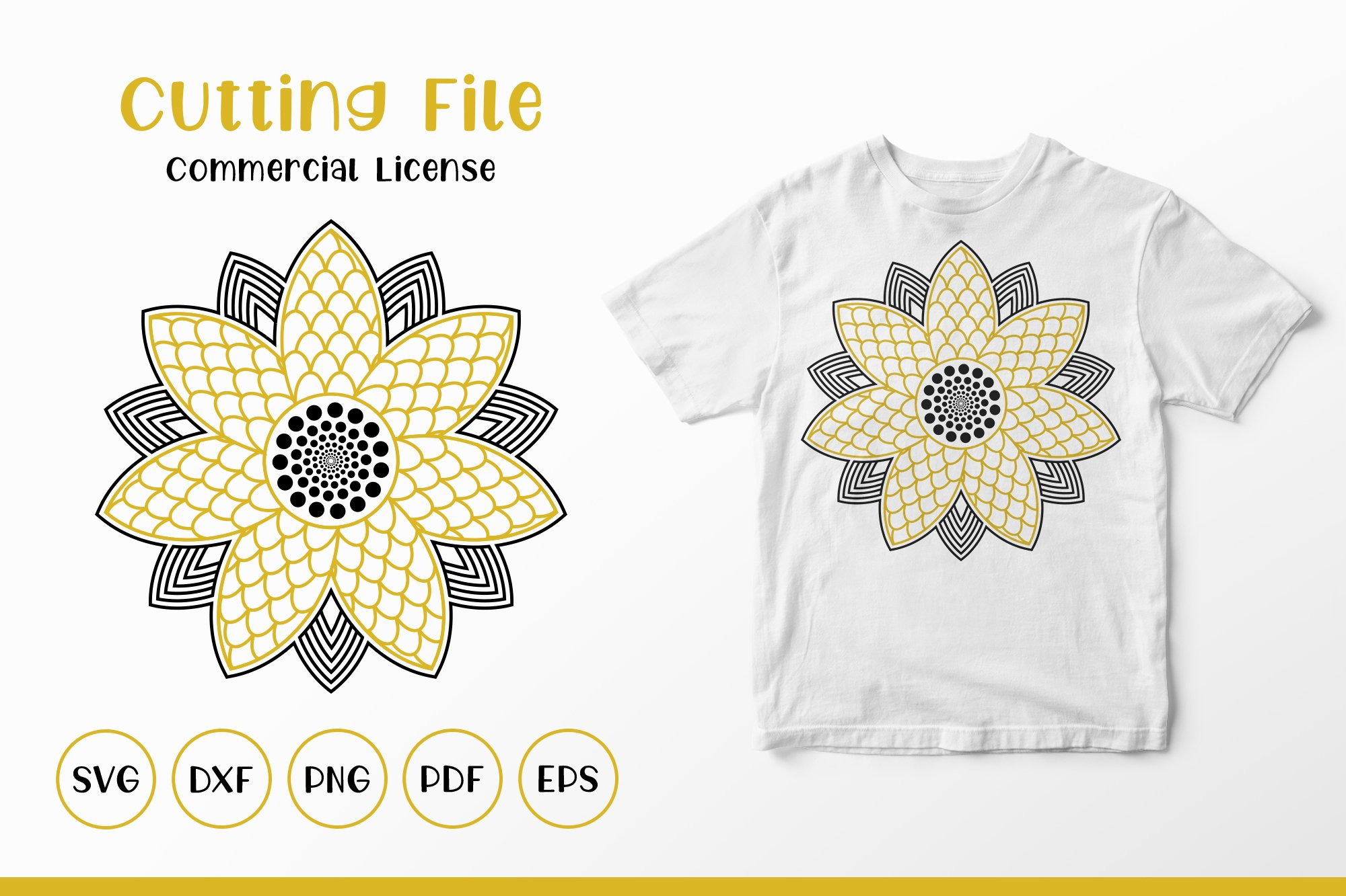 Sunflower SVG, Sunflower Mandala, Sunflower Monogram SVG example image 1