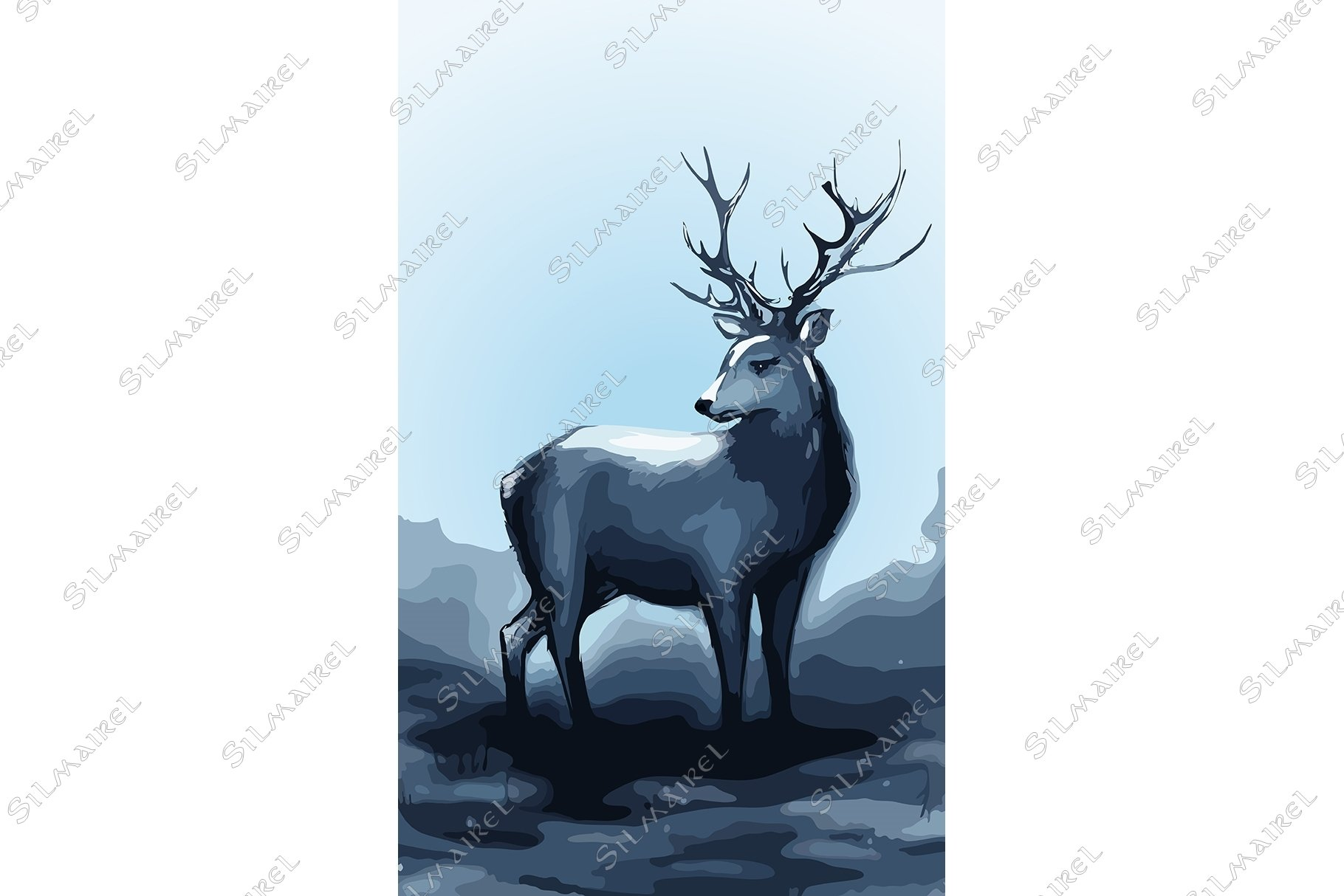Winter snow forest navy deer with big horns vector art example image 1