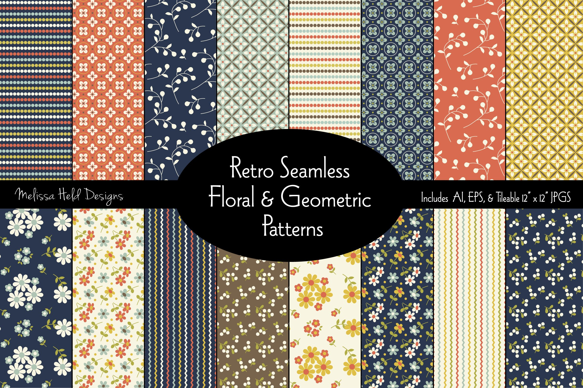 Seamless Retro Floral & Geometric Patterns example image 1
