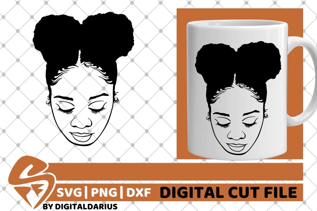 Black Girl with Afro Puffs svg, Afro Hair svg, Melanin svg example image 2