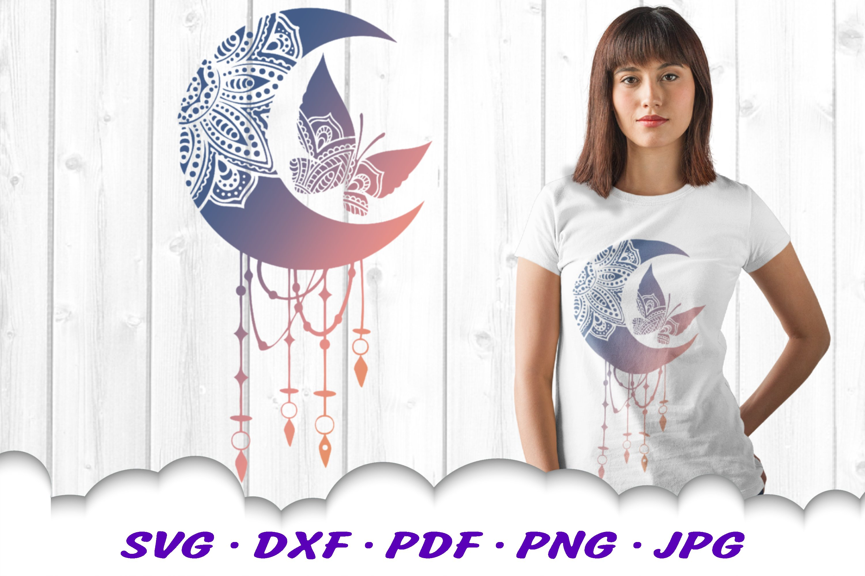 Celestial Mandala Butterfly Dream Catcher SVG DXF Cut Files example image 1
