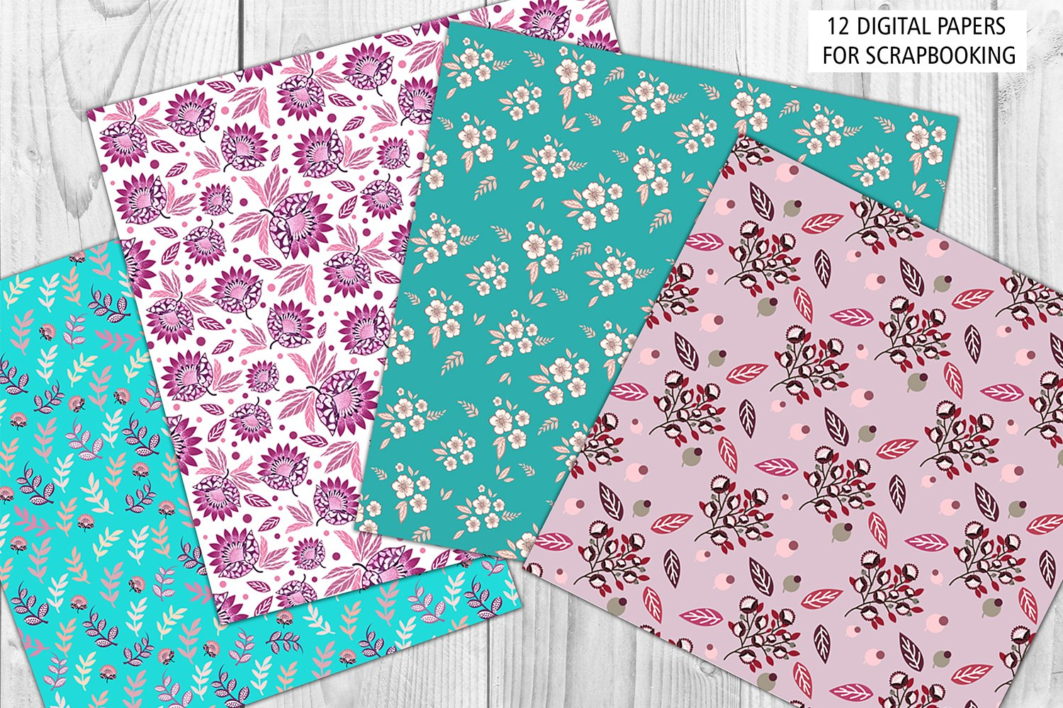 Turquoise and Succulent pink digital papers example image 2
