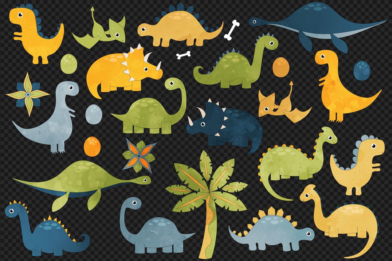 Cute Dinosaurs Clip Art example image 3