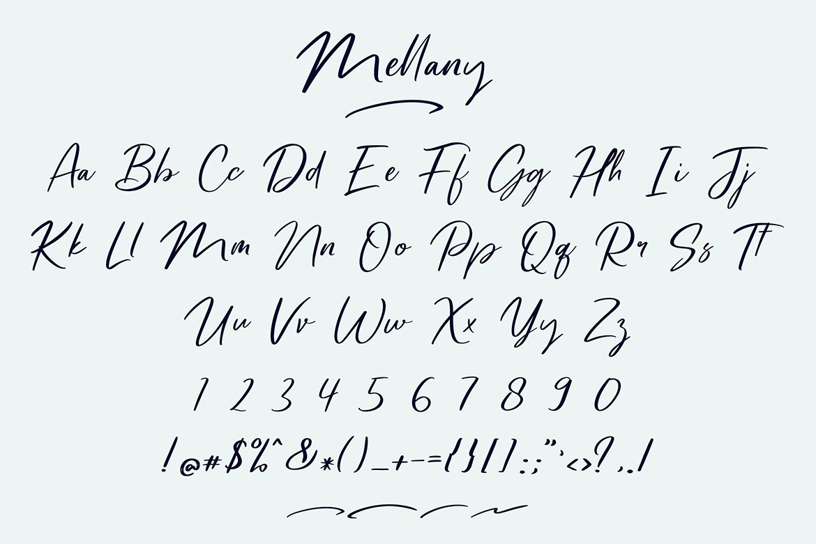 Mellany Modern Script Font example image 6