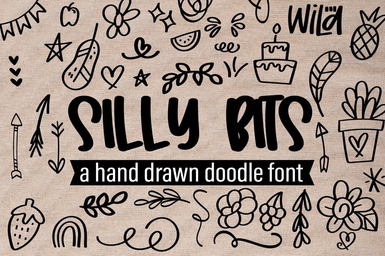 Silly Bits - A Hand Drawn Doodle Font example image 1
