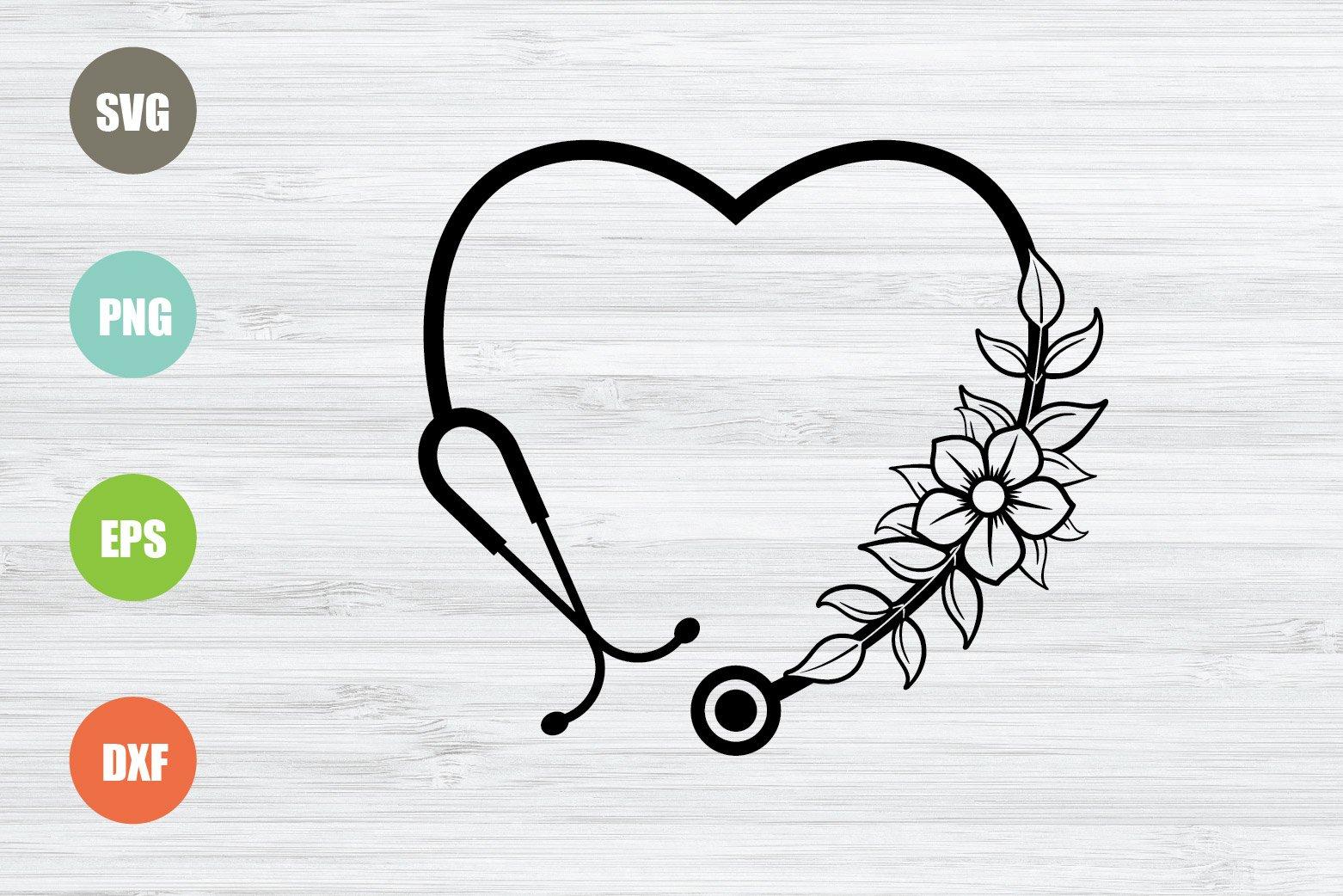 Stethoscope SVG, Floral Stethoscope SVG, Heart SVG example image 1