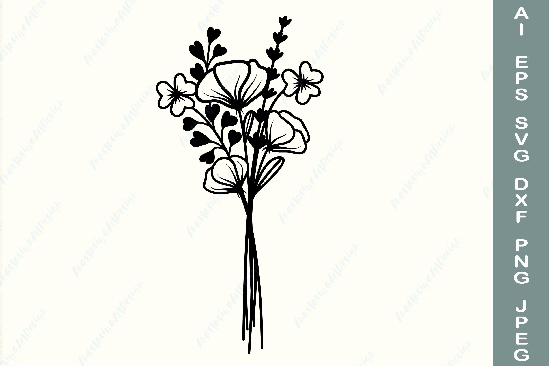 Bouquet svg bundle,flowers  hand drawn,Flower Bouquet floral svg,wildflowers svg,minimalist bouquet svg,Bouquet vinyl file,field plants svg