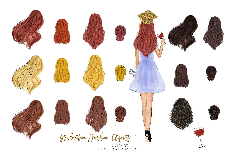 College Senior Graduation Girl Gold Fashion clipart example image 3
