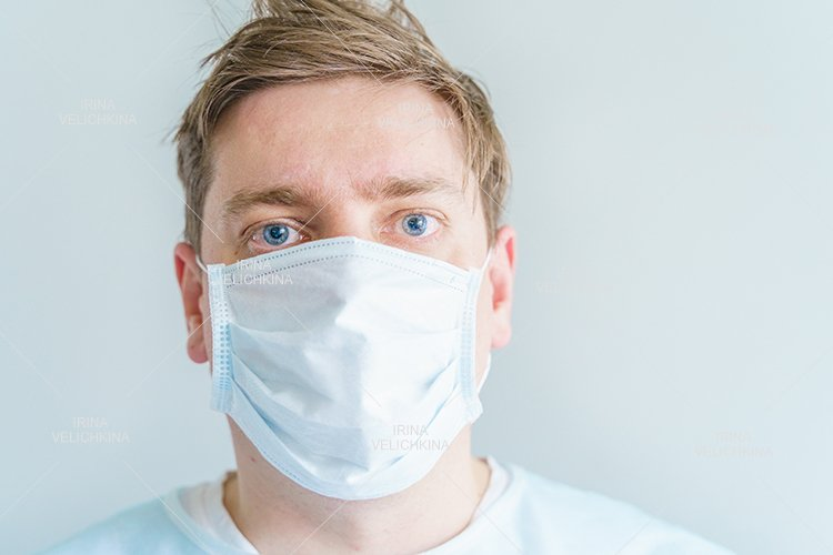 Doctor, patient in medical disposable hat, robe. Face mask example image 1