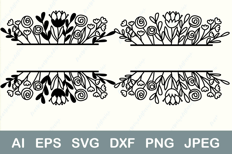 Split Monogram Svg Flower Border Svg Family Name Frame Svg 733666 Cut Files Design Bundles