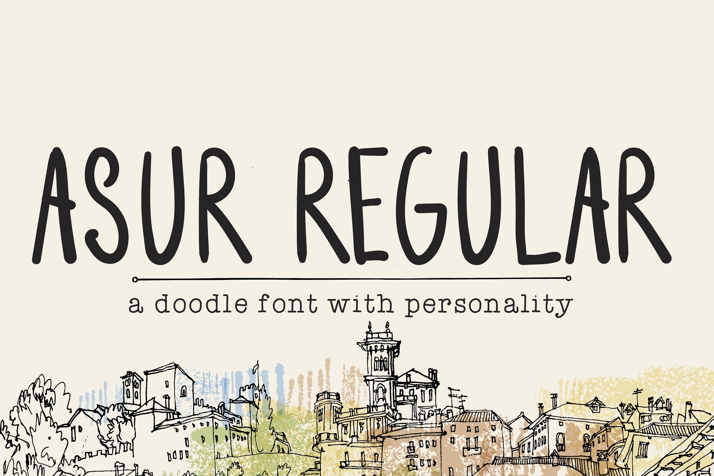 Asur Regular- Cute Doodle Font & Illustrations example image 1